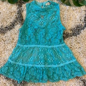 Rebellion turquoise lace top